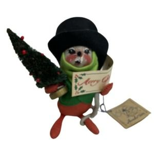 """Vintage Annalee Dolls Christmas Caroling Mouse with Christmas Tree Doll 1993 7"""""""